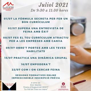 ACTIVITATS DEL MES DE JULIOL. TROBA FEINA AMB EL SEOVT!