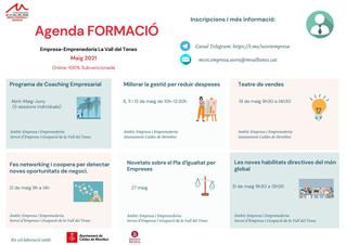 AGENDA DE FORMACIONS PER A MAIG EMPRESA I EMPRENEDORIA.
