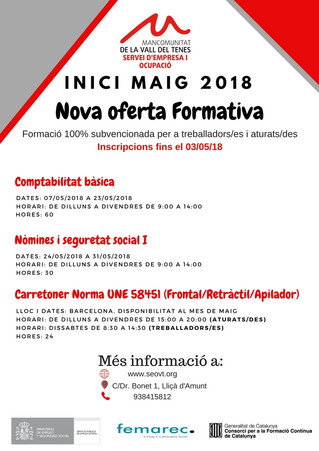Inici Formació Subvencionada Maig 2018