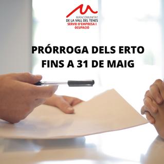 PRORROGATS ERTO FINS A 31 DE MAIG