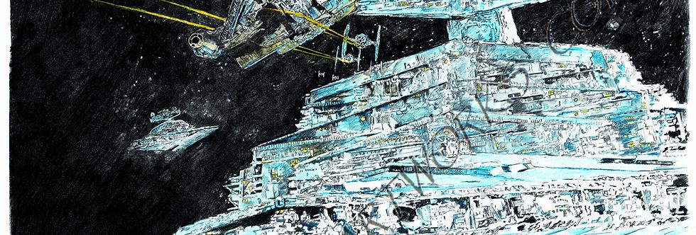 STAR WARS Falcon and Stardestoryer colour