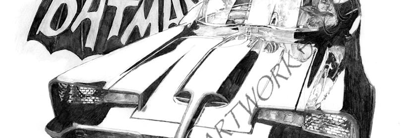 The Batmobile black white