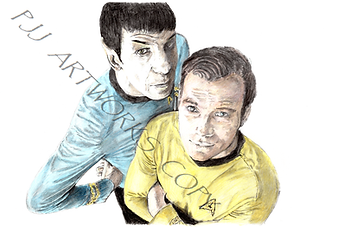 STAR TREK Kirk and Spock COLOUR  SMALL W