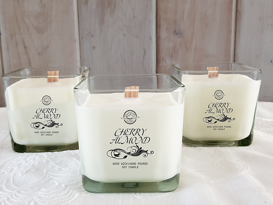 Cherry Almond Soy Wooden Wick Candle