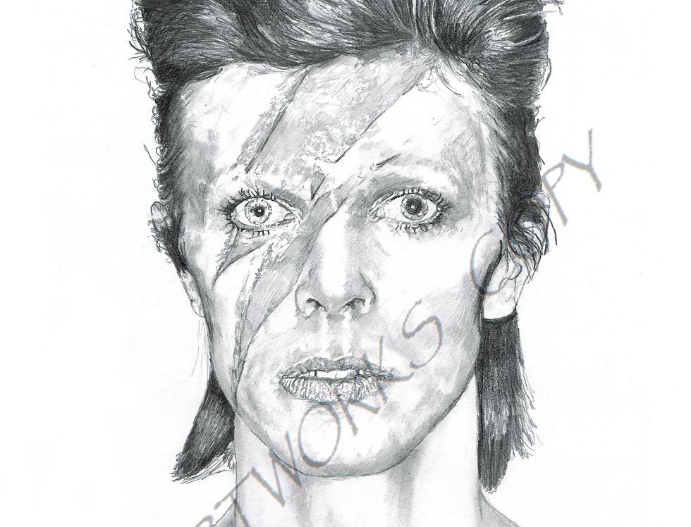 David Bowie Aladdin Sane black white