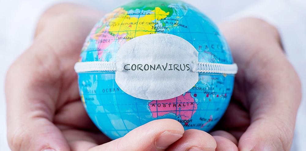 地球儀とコロナウィルス|副腎疲労HP