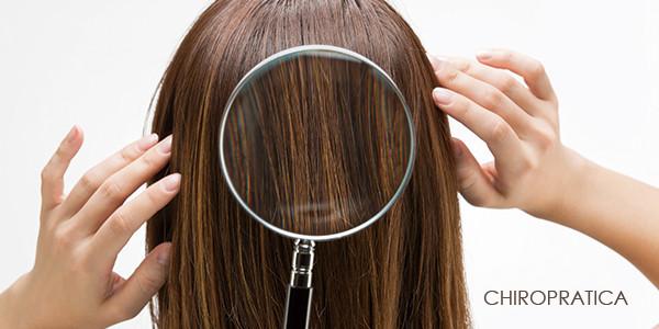 髪の毛に大きな虫めがねを当てている写真|副腎疲労HP