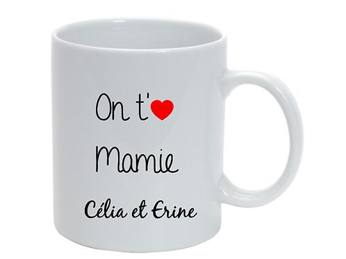 Mug personnalisé On t'aime Mamie fête des grand-mères