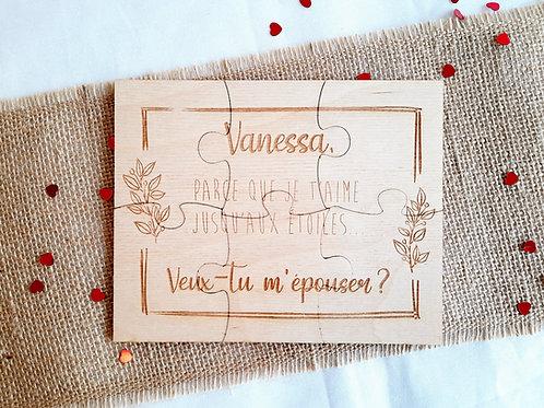 """Puzzle gravé """"demande en mariage"""" - Demande originale"""