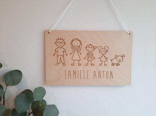 """Pancarte personnalisée""""famille"""" - Décoration murale"""