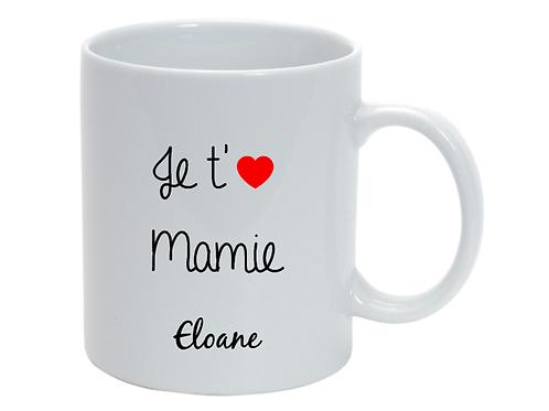 Mug personnalisé Je t'aime Mamie fête des grand-mères