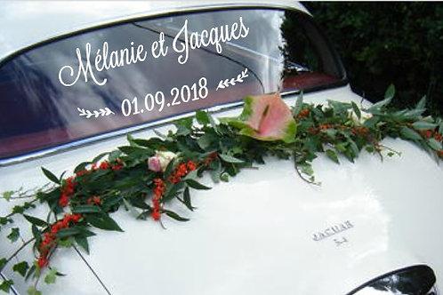 Sticker personnalisé pour décoration de la voiture des mariés