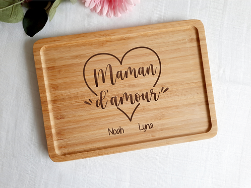 Plateau personnalisé Maman d'amour avec prénom(s)