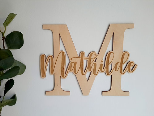 Décoration murale lettre et prénom chambre bébé - enfant - fille - garçon
