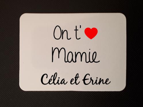 Magnet personnalisé On t'aime Mamie fête des grand-mères