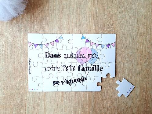 """Puzzle annonce """"Famille s'agrandit"""""""