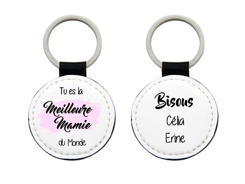 """Porte-clés bi-face """"Meilleure Mamie du monde"""" personnalisé avec prénom(s)"""