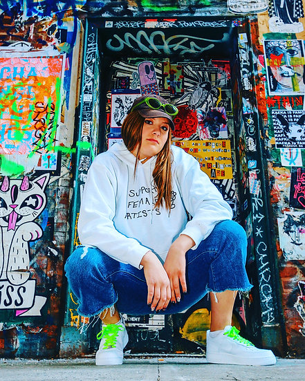 SUPPORT FEMALE ARTISTS WHITE HOODIE
