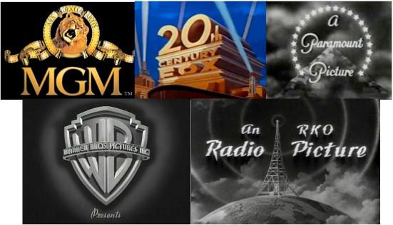 The logos of the Big 5 Studios of the Golden Hollywood Era