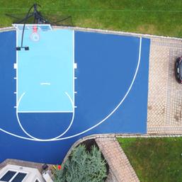 Driveway Half Court Basketball Installation, overhead view