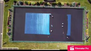 Time lapse of full court painting, Stadium Blue