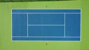 Tennis court painting done by the Imperial House. Stadium Blue/ Grass Green