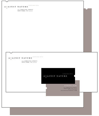 Proposed stationery design for Against Nature