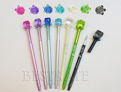 BRP0781 gel pen with crystal rose topper
