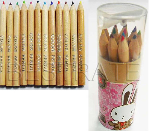 BRH0348 wooden coloring pencil with sharpener