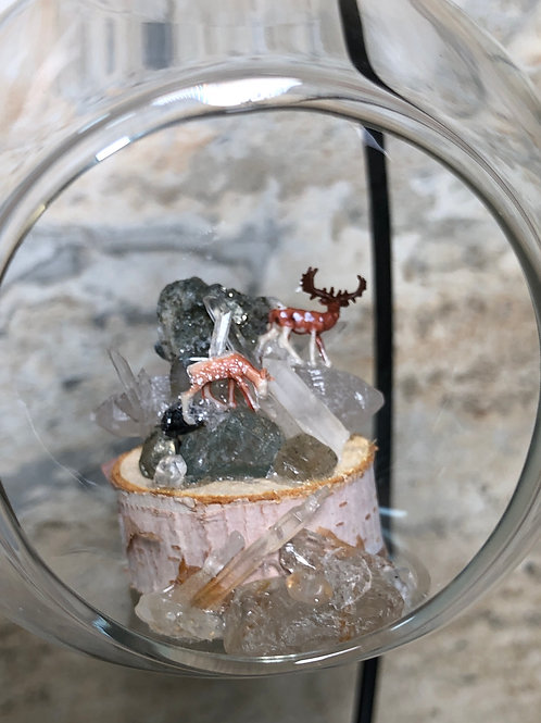 Glass Ornament with Deer and Crystals