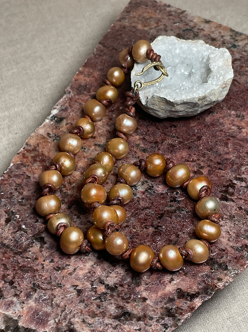 Copper Baroque Pearls on Knotted Leather Necklace