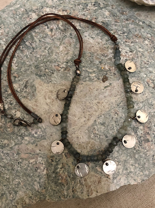 Hammered Sterling Discs with Tourmaline & Leather