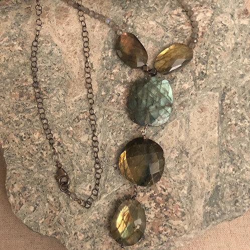 Labradorite 5 Stone Labradorite Pendant with Sterling Chain