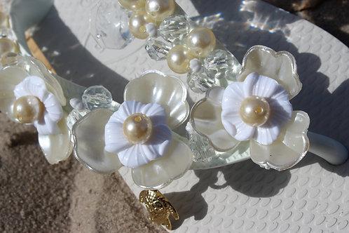 White flower flip flops