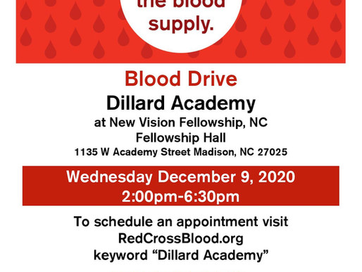 Blood Drive Sponsored by Dillard Academy