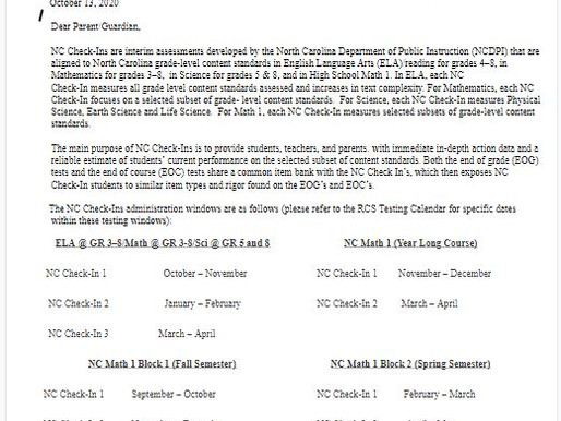 Parent letter for Check-in testing