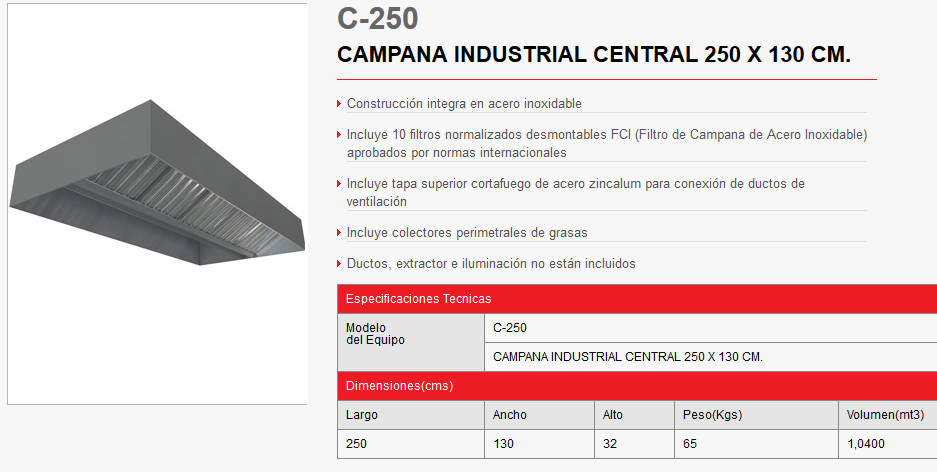 CAMPANA CENTRAL c250