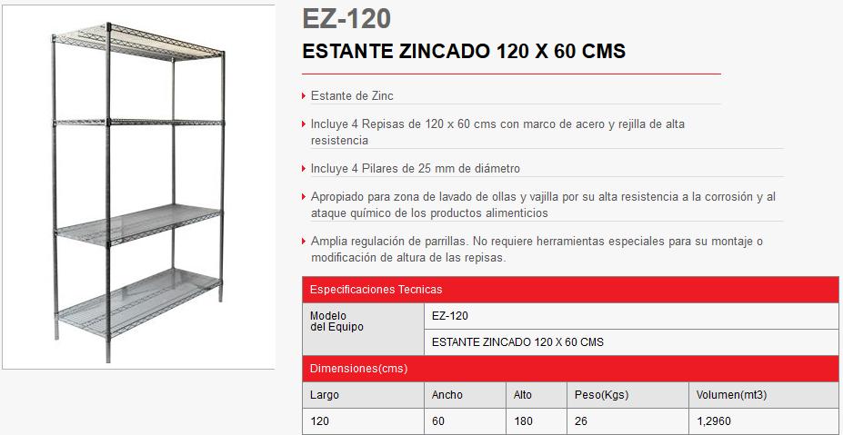 ESTANTE ZINCADO ez120