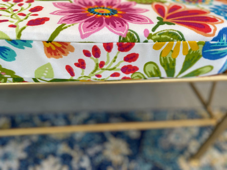 Outdoor floral bench cushion