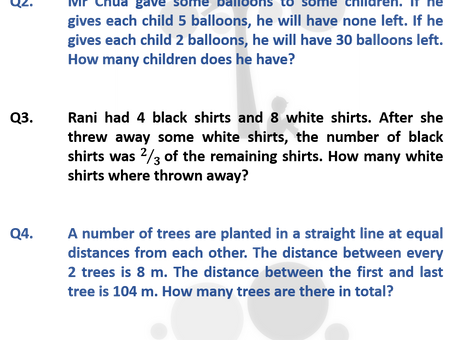 Past Year GEP Screening & Selection Test Mathematics Questions - Can Your P3 Child Solve Them?