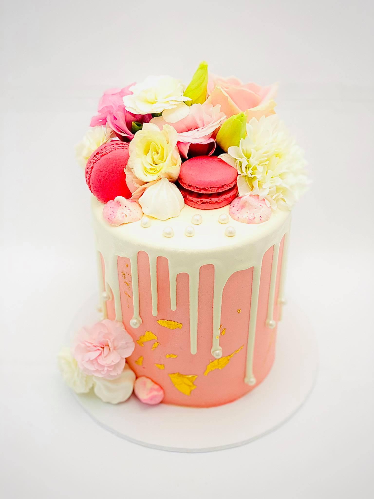 pink white drip cake