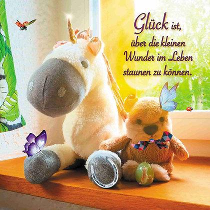 """Postkarte """"Glück ist, über die kleinen Wunder im Leben staunen zu können."""""""