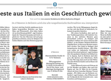 """""""Das Beste aus Italien in ein Geschirrtuch gewickelt"""" ein Bericht aus der Heilbronner Stimme"""