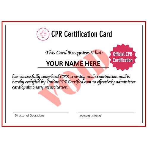 CPR Certification Card (Digital Copies)