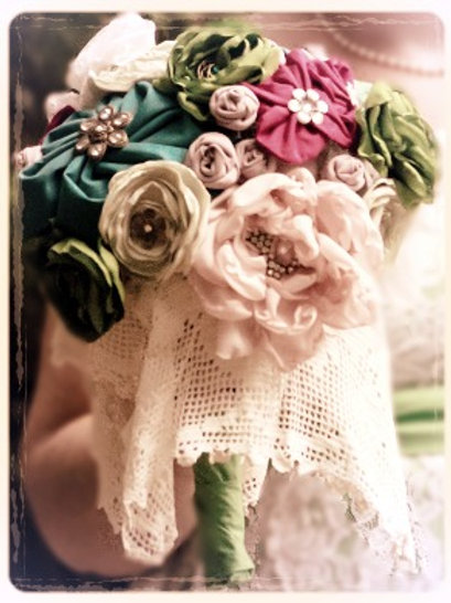 Handmade Fabric & Broach Bouquet