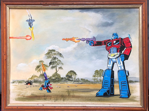 Transformers gunfight in field
