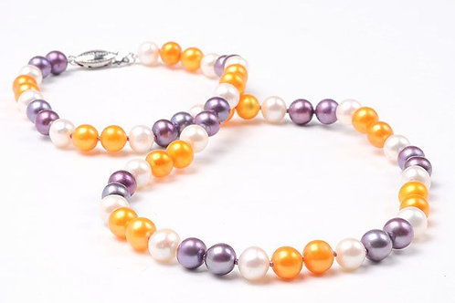 "White, Orange & Purple 18"" Pearl Strand"