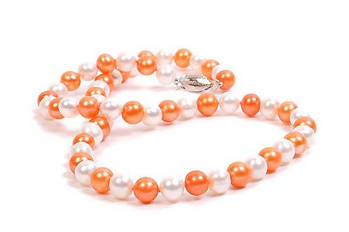 "White & Orange 18"" Pearl Strand"