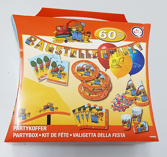 """Partykoffer """"Baustelle"""" 60 Teile"""