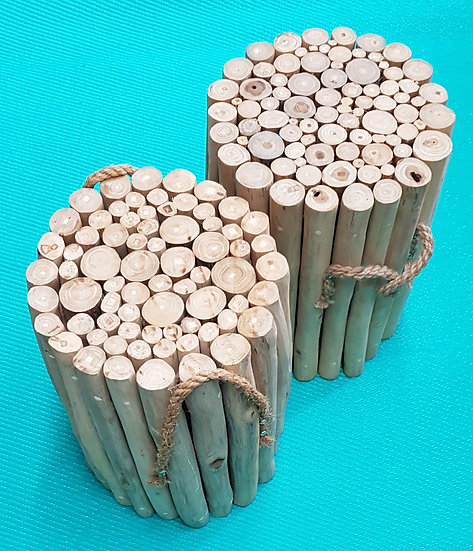 2 Stück Bambus Hocker
